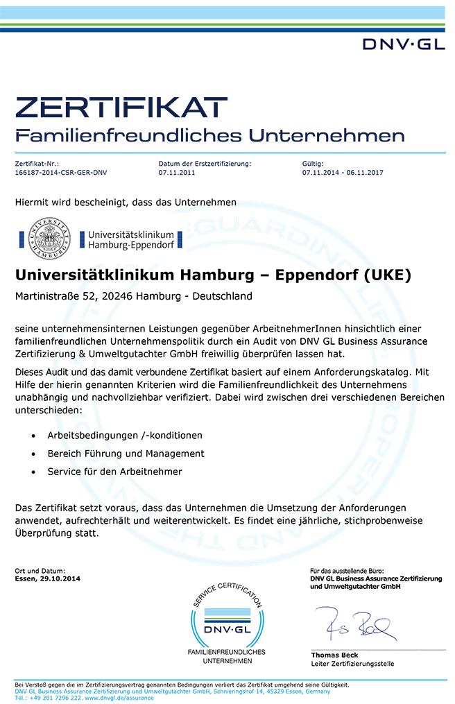 Urkunde Familienfreundliche Unternehmen - Universitätsklinikum Hamburg-Eppendorf